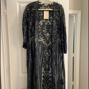 Other - Long Black Sequin Duster